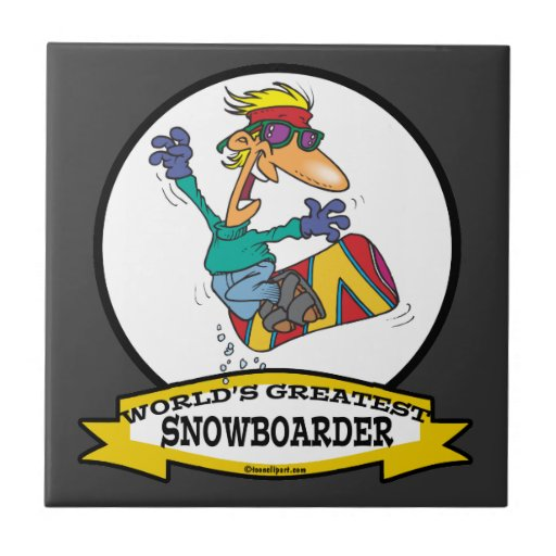 WORLDS GREATEST SNOWBOARDER CARTOON SMALL SQUARE TILE