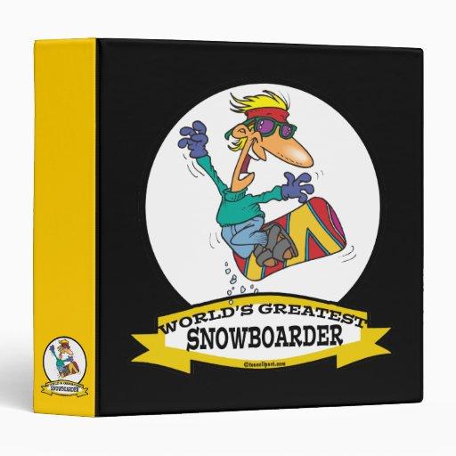 WORLDS GREATEST SNOWBOARDER CARTOON VINYL BINDERS