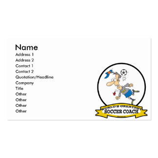 WORLDS GREATEST SOCCER COACH MEN CARTOON Double-Sided STANDARD BUSINESS CARDS (Pack OF 100)