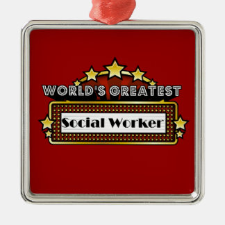 World's Greatest Social Worker Square Metal Christmas Ornament