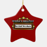 World's Greatest Social Worker Double-Sided Star Ceramic Christmas Ornament