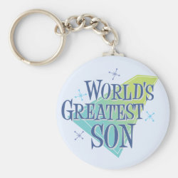 Basic Button Keychain with World's Greatest Son design