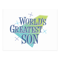 Postcard with World's Greatest Son design