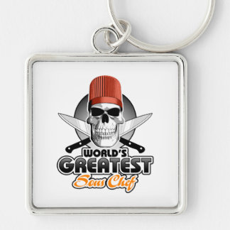 World's Greatest Sous Chef v1 Silver-Colored Square Keychain