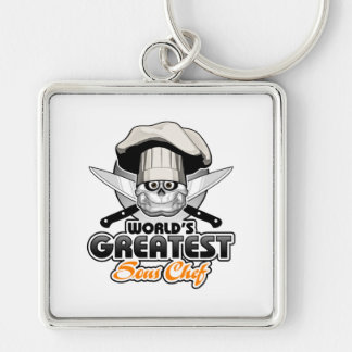 World's Greatest Sous Chef v2 Silver-Colored Square Keychain