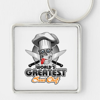World's Greatest Sous Chef v3 Silver-Colored Square Keychain