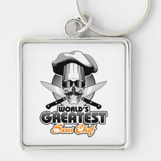 World's Greatest Sous Chef v4 Silver-Colored Square Keychain