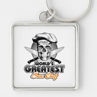 World's Greatest Sous Chef v5 Silver-Colored Square Keychain
