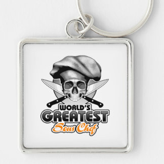 World's Greatest Sous Chef v6 Silver-Colored Square Keychain