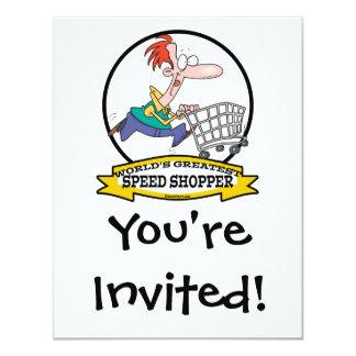 WORLDS GREATEST SPEED SHOPPER MEN CARTOON 4.25X5.5 PAPER INVITATION CARD