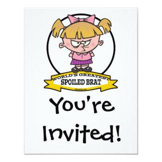 "WORLDS GREATEST SPOILED BRAT CARTOON 4.25"" X 5.5"" INVITATION CARD"