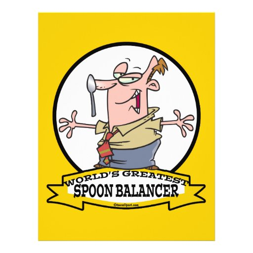 WORLDS GREATEST SPOON BALANCER CARTOON FLYER DESIGN