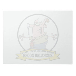 WORLDS GREATEST SPOON BALANCER CARTOON NOTE PAD