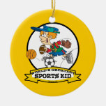 WORLDS GREATEST SPORTS KID CARTOON Double-Sided CERAMIC ROUND CHRISTMAS ORNAMENT