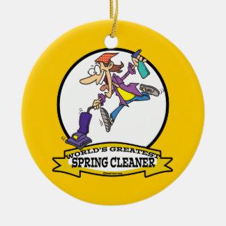 WORLDS GREATEST SPRING CLEANER WOMEN CARTOON CERAMIC ORNAMENT