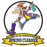 WORLDS GREATEST SPRING CLEANER WOMEN CARTOON CUT OUTS