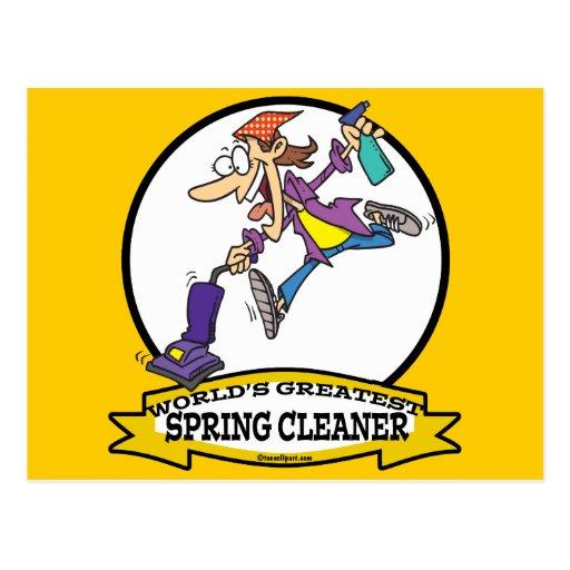 WORLDS GREATEST SPRING CLEANER WOMEN CARTOON POSTCARD
