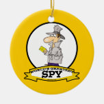 WORLDS GREATEST SPY MEN CARTOON Double-Sided CERAMIC ROUND CHRISTMAS ORNAMENT