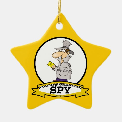 WORLDS GREATEST SPY MEN CARTOON Double-Sided STAR CERAMIC CHRISTMAS ORNAMENT