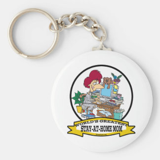 WORLDS GREATEST STAY AT HOME MOM CARTOON BASIC ROUND BUTTON KEYCHAIN