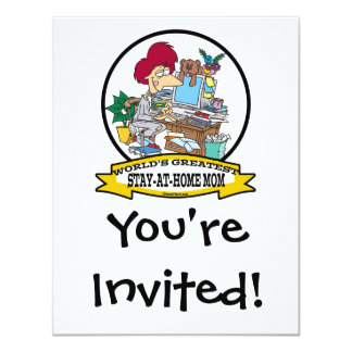 WORLDS GREATEST STAY AT HOME MOM CARTOON PERSONALIZED INVITE