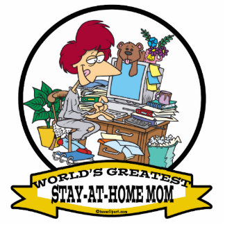 WORLDS GREATEST STAY AT HOME MOM CARTOON STANDING PHOTO SCULPTURE