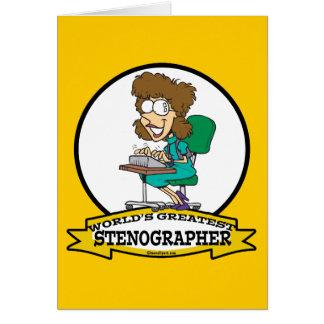 WORLDS GREATEST STENOGRAPHER WOMEN CARTOON CARD
