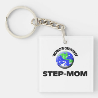 World's Greatest Step-Mom Double-Sided Square Acrylic Keychain