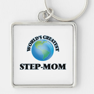World's Greatest Step-Mom Silver-Colored Square Keychain