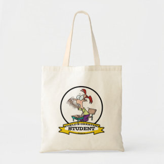 WORLDS GREATEST STUDENT GIRL CARTOON TOTE BAG