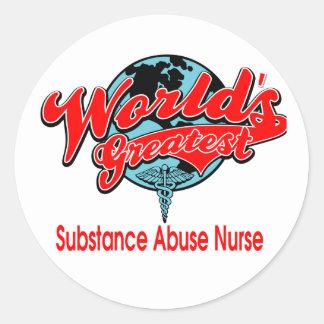 World's Greatest Substance Abuse Nurse Round Stickers