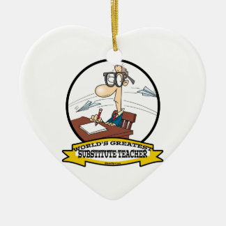 WORLDS GREATEST SUBSTITUTE TEACHER MEN CARTOON CERAMIC ORNAMENT