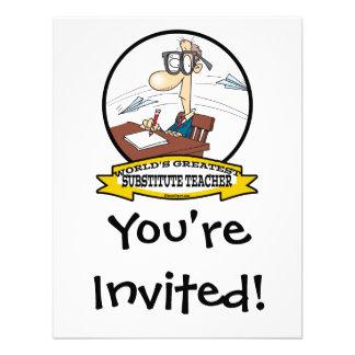 WORLDS GREATEST SUBSTITUTE TEACHER MEN CARTOON CUSTOM INVITATIONS