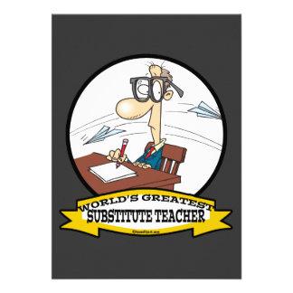WORLDS GREATEST SUBSTITUTE TEACHER MEN CARTOON CUSTOM INVITATION