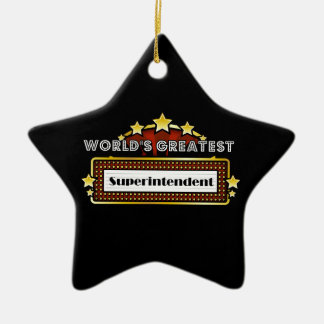 World's Greatest Superintendent Double-Sided Star Ceramic Christmas Ornament