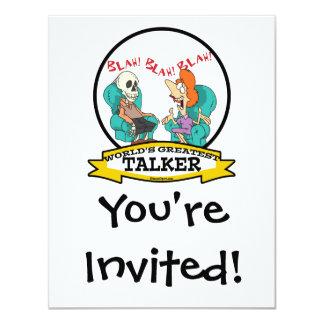 WORLDS GREATEST TALKER WOMEN CARTOON 4.25X5.5 PAPER INVITATION CARD