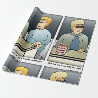 World's Greatest Teacher Cartoon Wrapping Paper