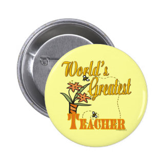 World's Greatest Teacher Floral Pins