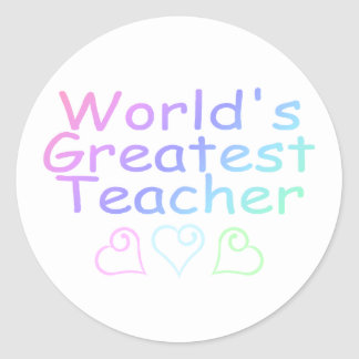 Worlds Greatest Teacher (Pastel) Classic Round Sticker