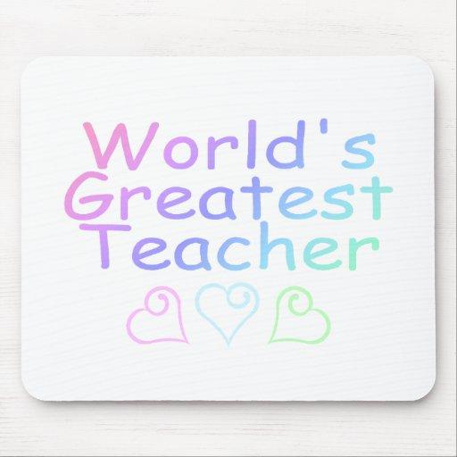 Worlds Greatest Teacher (Pastel) Mousepads