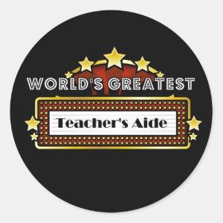 World's Greatest Teacher's Aide Classic Round Sticker