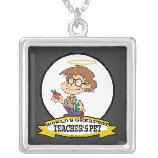 WORLDS GREATEST TEACHERS PET BOY II CARTOON CUSTOM NECKLACE