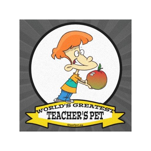 WORLDS GREATEST TEACHERS PET CARTOON CANVAS PRINT