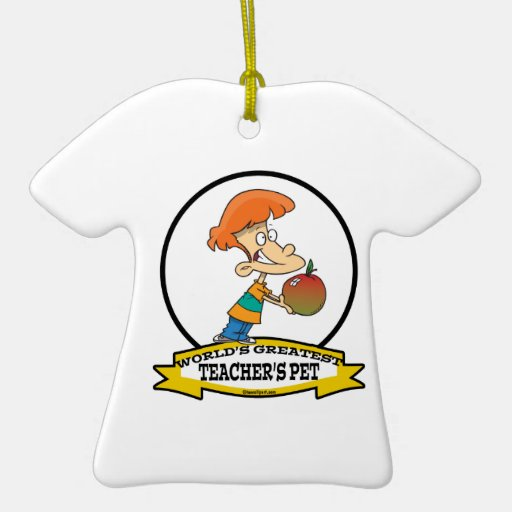 WORLDS GREATEST TEACHERS PET CARTOON Double-Sided T-Shirt CERAMIC CHRISTMAS ORNAMENT