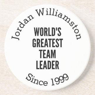 Worlds Greatest Team Leader Sandstone Coaster
