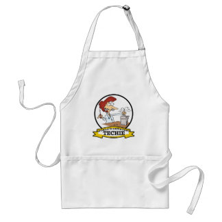 WORLDS GREATEST TECHIE WOMEN CARTOON ADULT APRON