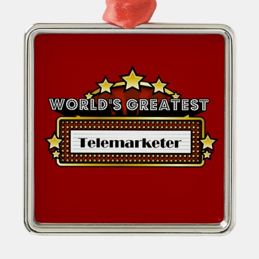 World's Greatest Telemarketer Square Metal Christmas Ornament