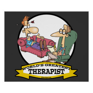 WORLDS GREATEST THERAPIST MEN CARTOON POSTER