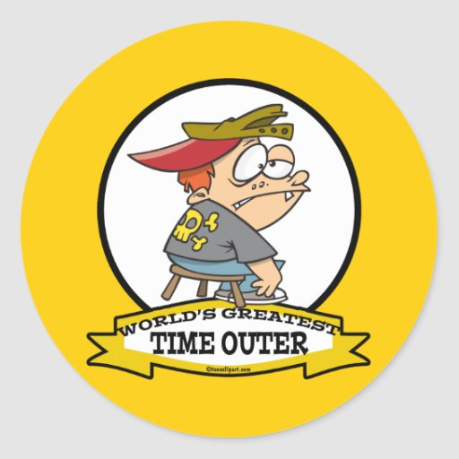 WORLDS GREATEST TIME OUTER CARTOON CLASSIC ROUND STICKER