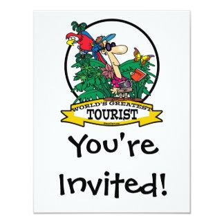 WORLDS GREATEST TOURIST MEN CARTOON 4.25X5.5 PAPER INVITATION CARD